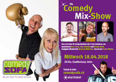 Comedy Sofa April 2018 in Uster mit Comedians aus Deutschland