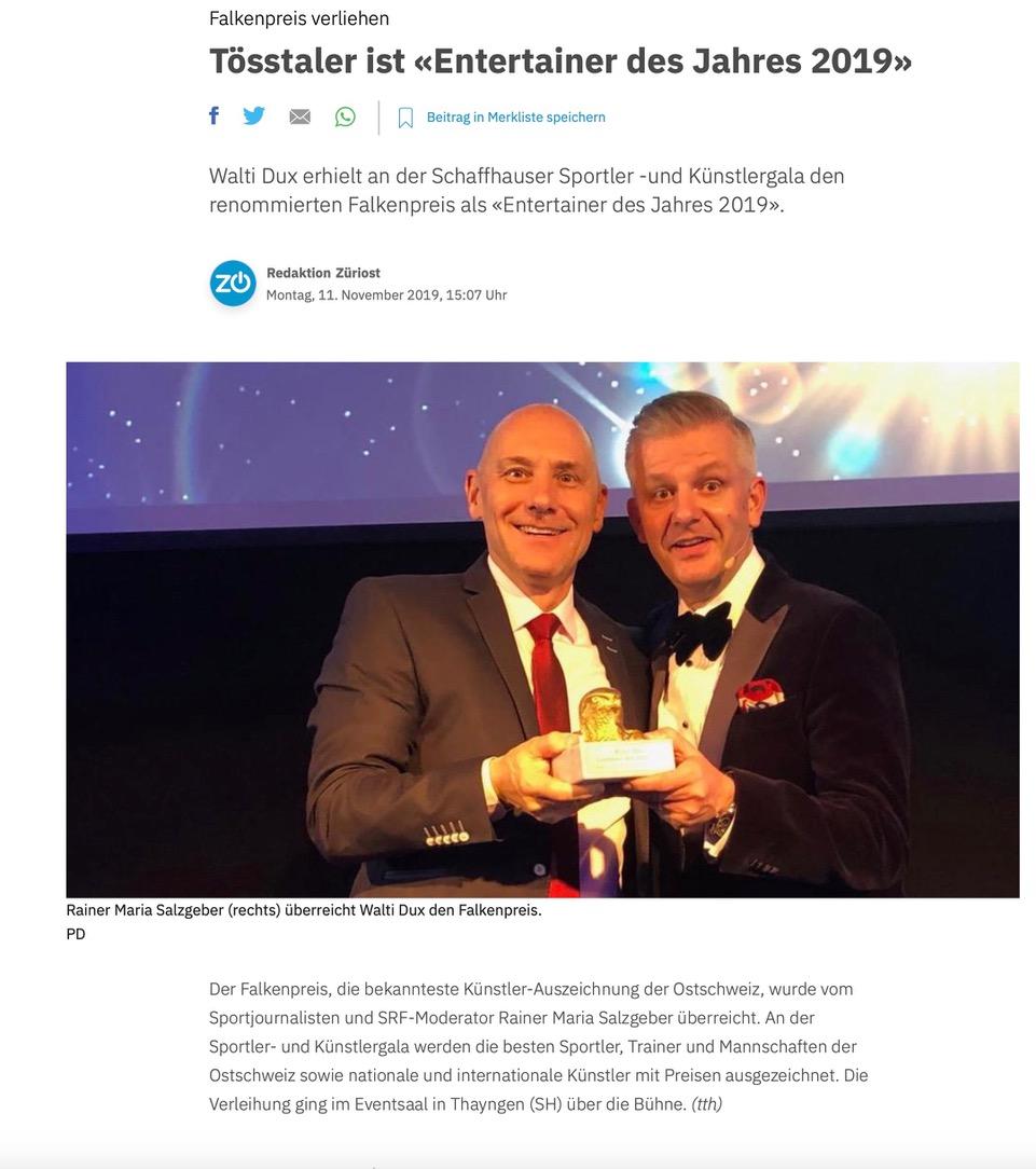 Tösstaler ist «Entertainer des Jahres 2019»