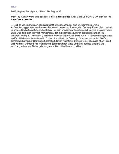 «Walti Dux beim Anzeiger von Uster»