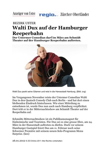 «Walti Dux auf der Hamburger Reeperbahn»