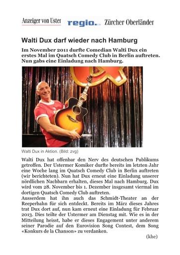 «Walti Dux darf wieder nach Hamburg»