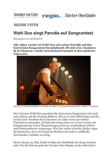«Walti Dux singt Parodie auf Songcontest»